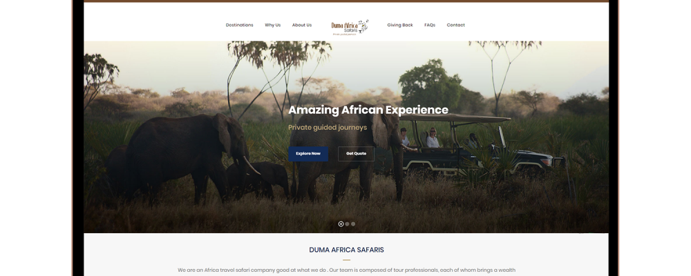 Macbook air screen showing tourists watching elephants in an amazing african experience tour
