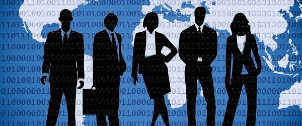 five soulihette of business people standing in a line with background picture of continents